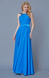 Sleeveless Long Chiffon Dress With Open Back and Lace Straps