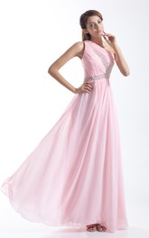 One-Shoulder Chiffon Pleated Gown with Crystal Detailing
