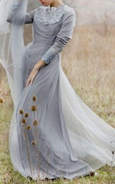 Romantic Wedding Grey Wedding Ballet Inspired Wedding Gown Rustic Wedding Lace Wedding Gown Chiffon Dress
