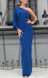 Cobalt Blue One Shoulder Long Dress