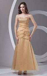 Sweetheart Ankle-Length Column A-Line Gown with Crystal