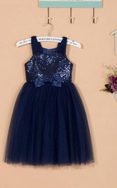 Sequins Bodice A-line Short Tulle Dress With Bow