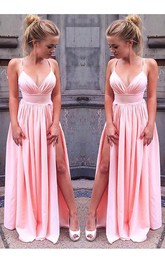 Princess Sleeveless Straps Floor Length Ruched Chiffon Dress Online