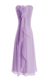 Strapless Knee-length Tiered Chiffon Dress With Flower