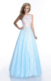 A-Line Sleeveless Bateau Neck Lace Prom Dress Featuring Keyhole Back And Jewels