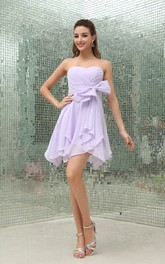 Sweetheart Criss-Cross Chiffon Mini Dress with Bow and Draping