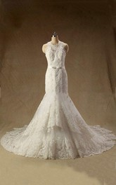 Sleeveless Mermaid Long Lace Wedding Dress With Sash And Jewel Neck