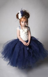 Special Cap Sleeve Tulle Dress With Flower Bodice and Sash Ribbon