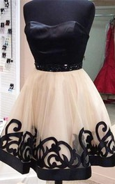 Elegant Sweetheart Short Tulle Homecoming Dress With Beadings