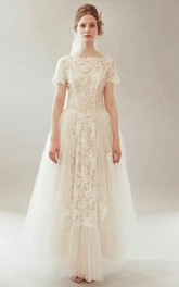Vintage Bateau Neck Short Sleeve Tulle and Lace Wedding Dress