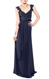 Falbala Chiffon Bridesmaid Dress with Sash