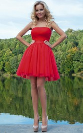 A Line Ruched Short Mini Strapless Sleeveless Tulle Prom Dress With Ribbon
