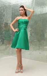 Strapless Satin A-Line Midi Dress with Ruching