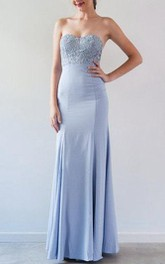 Sweetheart Floor-Length Dress With Lace And Pleats