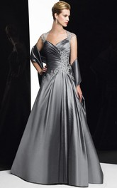 A-Line Maxi Appliqued Sleeveless Queen Anne Satin Formal Dress