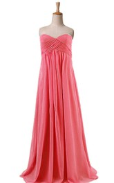 Sweetheart A-line Pleated Dress With Criss Cross
