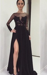 Sexy Lace Appliques Black 2018 Prom Dress Front Split Long Sleeve Illusion Sweep Train