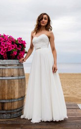 Rustic Chiffon Floor-Length Wedding Dress