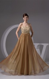 Spaghetti-Strap Floor-Length Gown with Pleats and Lace
