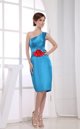 One-Shoulder Satin Sleeveless Pencil Dress With Flower