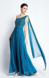 A-Line One-shoulder Sleeveless Floor-length Chiffon Prom Dress with Straps