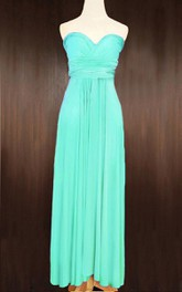 Turquoise Bridesmaid Convertible Wrap Full Length Dress