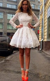 Elegant Long Sleeve Short Homecoming Dress With Lace