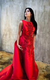 Vintage Red Sleeveless Appliques Evening Dress 2018 Long Train