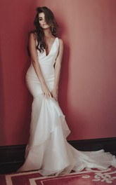 Satin Sexy Deep V-neck Wedding Dress With Tiers And Deep V-back