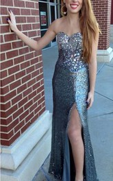 Luxurious Crystals Sequins Mermaid Prom Dress 2018 Front Split Sweetheart