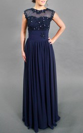 Cap Sleeve Chiffon&Lace Dress With Beading&Sequins&Illusion