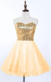 A-line Sweetheart Sleeveless Pleats Sequins Short Mini Tulle Sequins Homecoming Dress