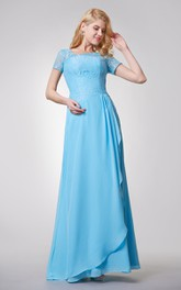 Short Sleeve A-line Long Chiffon Dress With Side Draping