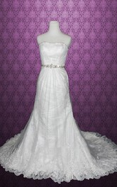 Strapless Backless Long Satin Wedding Dress With Sash And Crystal Detailing