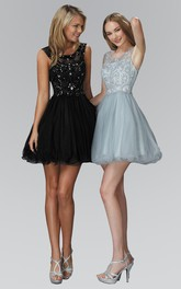 A-Line Short Bateau Sleeveless Tulle Satin Dress With Sequins And Beading