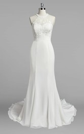 Jewel Neck Mermaid Chiffon Wedding Dress With Lace Bodice