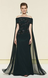 Sheath Off-the-shoulder Evening Dress With Watteau Train And Appliques