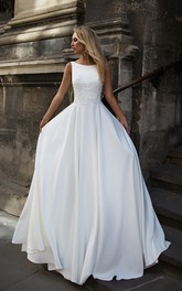 Elegant Satin Bataeu Neckline Floor Length Bridal Gown