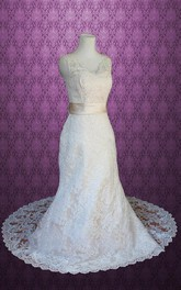 Scalloped Deep-V Back Sheath Long Lace Wedding Dress With Sash And Bow