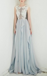 A-Line Scoop Dress With Lace Top And Illusion Back