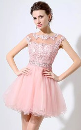 A-line Bateau Short Sleeve Beading Pleats Short Mini Lace Tulle Homecoming Dress