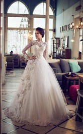 Ball Gown Short Long Sleeve Bell Bat Appliques Flower Button Tulle Lace Dress