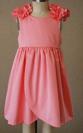 Pink Ruffle Scooped Back Dress with Cap Sleeve
