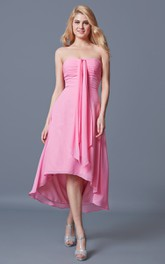Sleeveless Ruched Sweetheart A-line High-low Chiffon Dress With Draping