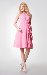 Simple Sleeveless Tiered Short Chiffon Dress With Keyhole