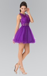 A-Line Short Jewel-Neck Sleeveless Ruffles Illusion Dress With Beading And Lace
