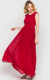 Long Chiffon Cap-sleeve Bridesmaid Dress With Sash