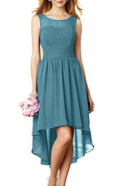High-low Illusion Neckline Ruched Chiffon Dress