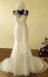 Halter Straps Back Mermiad Long Lace Wedding Dress With Sash And Flower