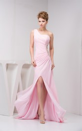 Blushing One-Shoulder Front-Split Dress with Keyhole and Brush Train